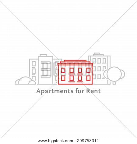 thin line apartments for rent. concept of dwelling label, townhouse panorama, residence, office skyline, hotel. flat lineart style trend modern graphic design vector illustration on white background