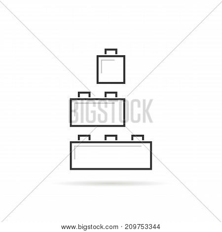 black thin line building toy logo. concept of small edifice, brickwork, compound, puzzle, project, collection. flat linear style trend modern brand design vector illustration on white background