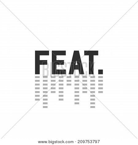 black simple feat. mark with equalizer. concept of soundrecording, attended, duo, invitee, co, contribution, pop. flat style trend modern web logotype design vector illustration on white background