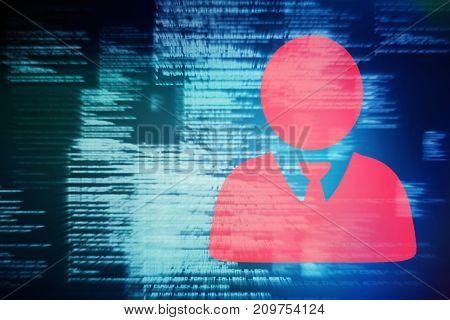 3D businessman against blue blurred texts