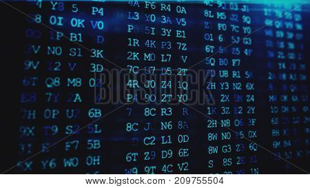 Abstract Digital Background. Machine Code. Hexadecimal Code. Random Digits And Letters Colored 3D Il
