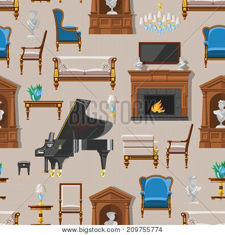 VIP vintage interior furniture rich wealthy house room with sofa set brick wall background vector illustration. Classic retro antique luxury apartment indoor seamless pattern background