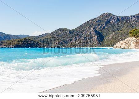 Azure waves in Island, Eastern Europe. Turkey