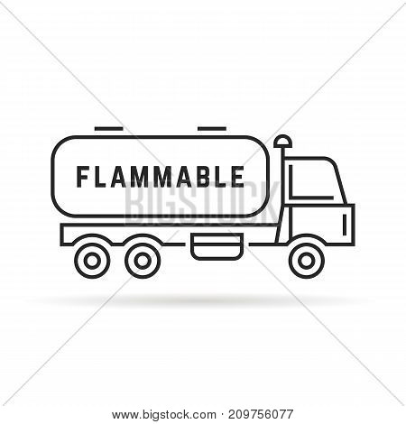 black thin line oil tanker. concept of distribution, large van, petrol haulage, engine, automotive, shipment, drive, marketing. flat style trend logo design vector illustration on white background