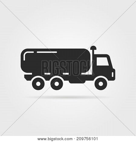 black oil tanker icon. concept of distribution, large van, petrol haulage, engine, automotive, shipment, drive, marketing. flat style trend logotype design vector illustration on gray background
