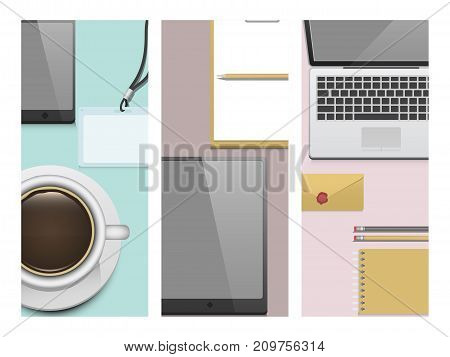 Premium corporate identity template flayer business stationery mock-up realistic 3d top view vector illustration. Set of envelope, notebook, card, folder vector illustration.