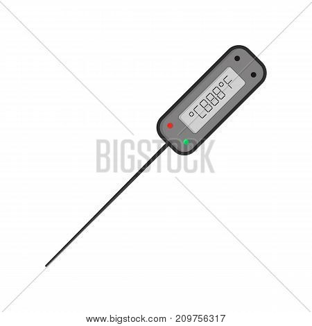 digital kitchen thermometer. concept of internal temperature indicator, info, utensil, staff, accuracy meter, dimension. flat style trend modern art design vector illustration on white background