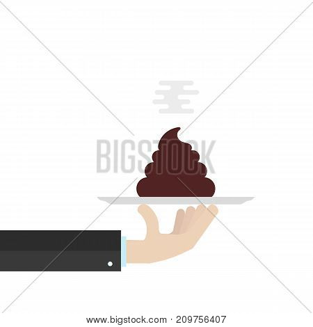 hand holding pile of shit on plate. concept of non-professional, confusion, smelly trash, nasty, joke, bad idea, filth, insult. flat style trend modern design vector illustration on white background