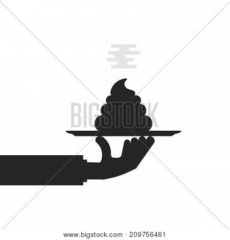 black hand holding shit on plate. concept of non-professional, confusion, smelly trash, nasty joke, bad idea, filth, insult, abuse censorship. flat style design vector illustration on white background