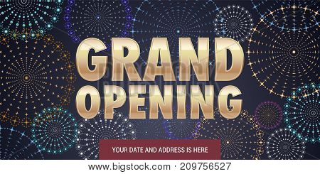 Grand opening vector illustration background for new store etc with firework. Template banner design element for opening event red ribbon cutting ceremony
