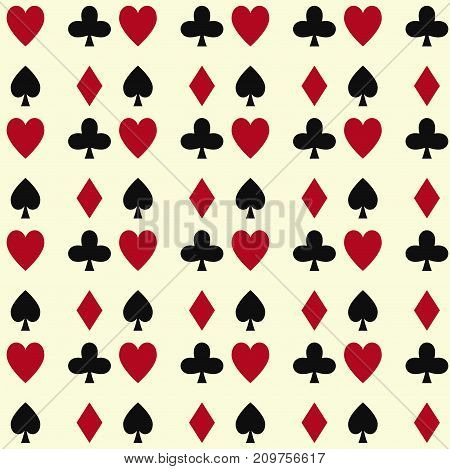 Poker cards casino gambling deck playing royal king queen jack gamble symbols. Blackjack club flush vector design seamless pattern background.