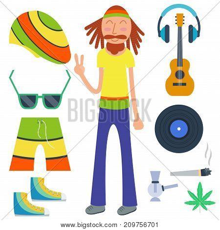 Rastafarian cannabis peace ganja icons set in flat style. Marijuana smoking equipment rasta collection vector illustration. Medicine narcotic symbols plant rastaman design.