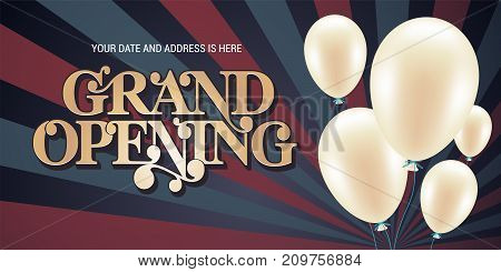 Grand opening vector illustration background for new store with air balloon. Template banner flyer design element for opening event