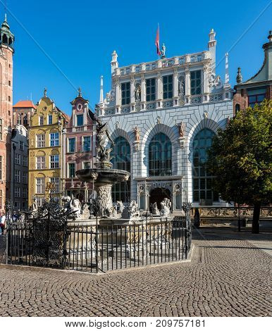 GDANSK, POLAND - 16 SEPTEMBER: Neptune's Fountain on 16 September 2017 in Gdansk, Poland.  The fountain was designed in 1617