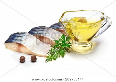 Mackerel with cooking oil and herbs and spices, isolated on white background