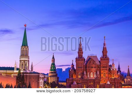 Historical building on Red Square opposite the Nikolskaya Tower. Surprisingly beautiful sky. Place for text. State Historical Museum, Moscow, Russia.
