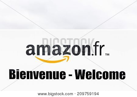 Saran, France - March 19, 2017: Amazon logo on a panel. Amazon is an American electronic commerce and cloud computing company based in Seattle, Washington