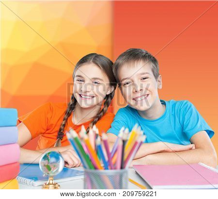 Table sitting children fun happy girl young