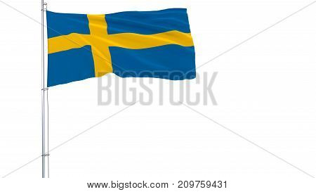 Flag of Sweden on a flagpole fluttering in the wind on white background 3d rendering
