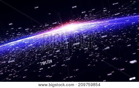 Connection lines Around Earth Globe Motion of digital data flow. Futuristic Technology Theme Background with Light Effect. 3D Render