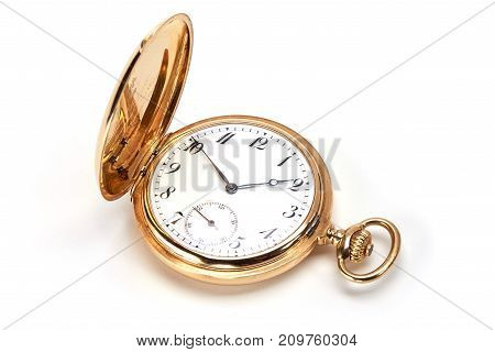 luxury gold watch swiss made on white background