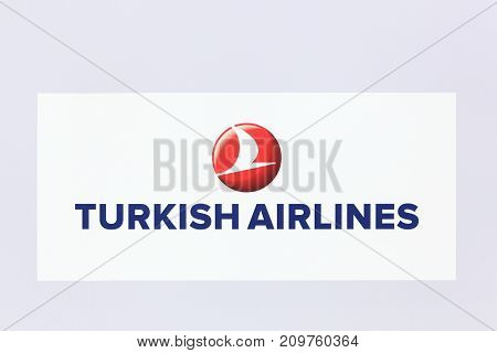 Lyon, France - May 27 2017: Turkish airlines logo on a wall. Turkish airlines is the national flag carrier airline of Turkey