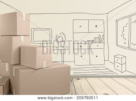 Cardboard boxes different background high shape shop