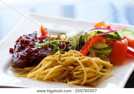 Beef In Red Wine Sauce With Pasta