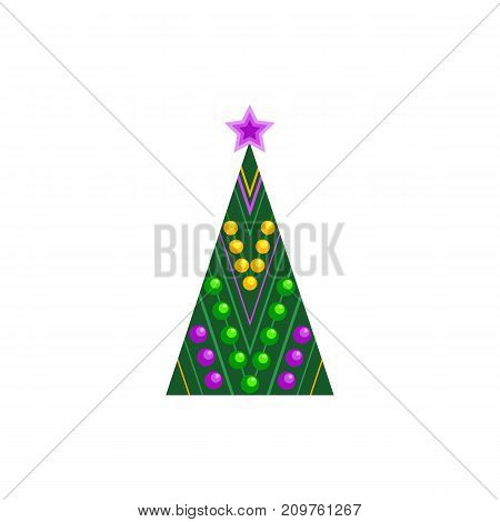 Abstract decorated Christmas tree icon. Colorful flat style. Star, decoration balls. Stylized pine tree symbol silhouette isolated. Xmas season greeting card poster template. Vector illustration