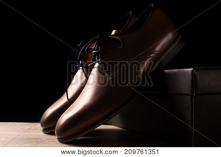 New brown male shoes in black background