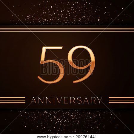Realistic Fifty nine Years Anniversary Celebration Logotype. Golden numbers and golden confetti on brown background. Colorful Vector template elements for your birthday party