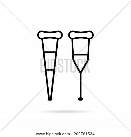simple black thin line crutch icon. concept of prosthesis, orthopaedics limp, mischance, crisis, hospitalized, sickness. flat style trend modern logotype design vector illustration on white background