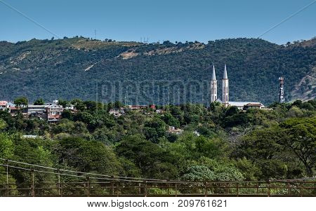 Distant view of the church from the outskirts of Tocaima Cundinamarca.