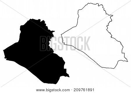 Iraq map vector illustration , scribble sketch Irak