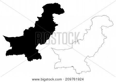 Pakistan map vector illustration , scribble sketch Pakistan