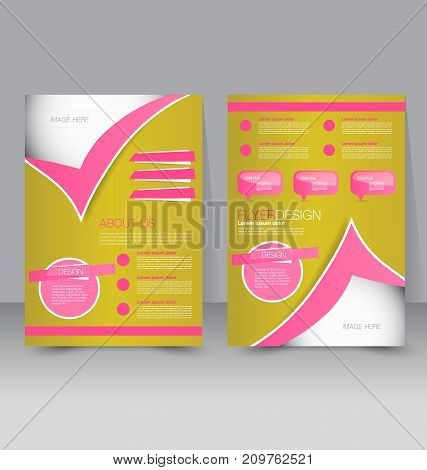 Flyer template. Business brochure. Editable A4 poster for design education, presentation, website, magazine cover. Gold and pink color.