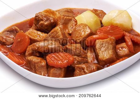 Goulash, Beef Stew With Potatoes Isolated On White Background