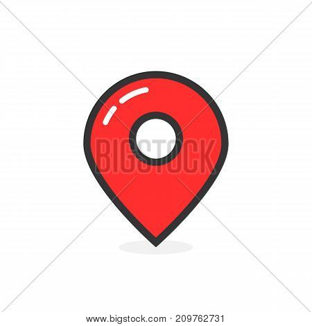 red glossy map pin with shadow. concept of tagging, center, landmark badge, tip, trip, needle, route build, locate. flat style modern logotype graphic design vector illustration on white background