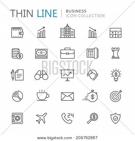 Collection of business thin line icons. Vector eps 10