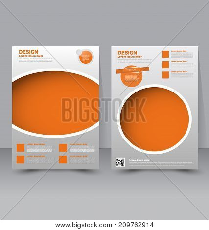 Flyer template. Business brochure. Editable A4 poster for design education, presentation, website, magazine cover. Orange color.