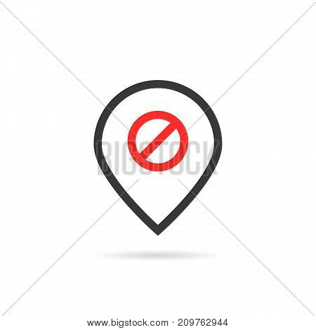 linear pin like offline. concept of false, alert, notice, travel, prevent, forbid, navigation, disconnection. flat style trend modern logotype design element vector illustration on white background