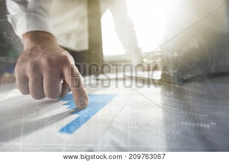 Business man working laptop man face color background