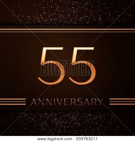 Realistic Fifty five Years Anniversary Celebration Logotype. Golden numbers and golden confetti on brown background. Colorful Vector template elements for your birthday party