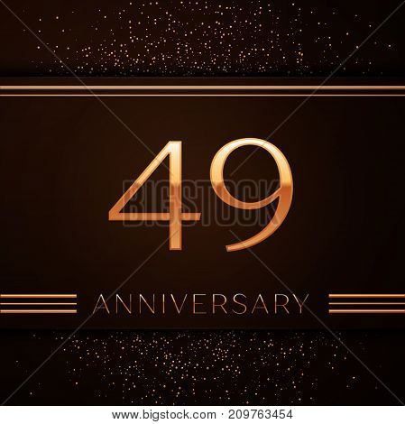 Realistic Forty nine Years Anniversary Celebration Logotype. Golden numbers and golden confetti on brown background. Colorful Vector template elements for your birthday party