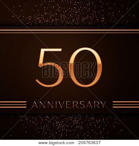 Realistic Fifty Years Anniversary Celebration Logotype. Golden numbers and golden confetti on brown background. Colorful Vector template elements for your birthday party