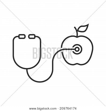 thin line stethoscope and apple. concept of doctor first aid, hear, diagnosis, fresh fruit, longevity recipe, cardio. outline style trend modern logotype design vector illustration on white background