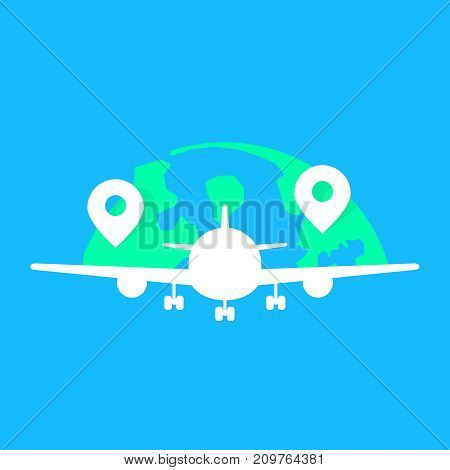 global airlines with white acft fuselage. concept of tourist holiday travelling, charter, speed, takeoff, voyage, wing. flat style modern logotype graphic design vector illustration on blue background