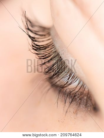 Closeup view of eye lashes . photo in the studio