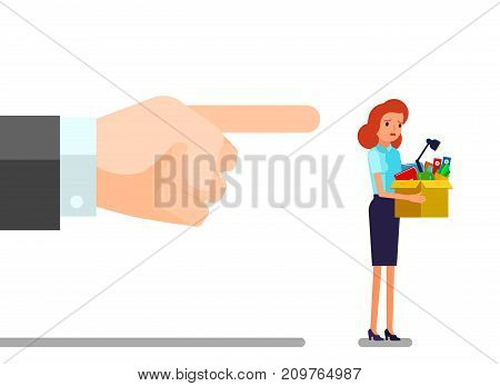 Concept of unemployment, crisis, jobless and employee job reduction. Dismissed frustrated business woman holding a box with her things. Flat design, vector illustration.
