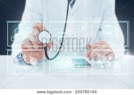Midsection of doctor holding stethoscope against composite 3D image of different application interface
